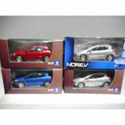 PEUGEOT 308 2007-2011 ROUGE BLEU SILVER NOREV 3 INCHES