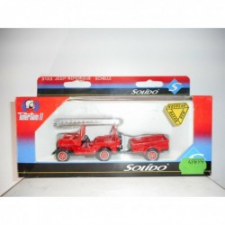 JEEP WILLYS + REMOLQUE BOMBEROS POMPIERS FIRE SOLIDO 3133
