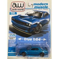 DODGE CHALLENGER R/T SCAT PACK 2019 BLUE 1:64 AUTO WORLD